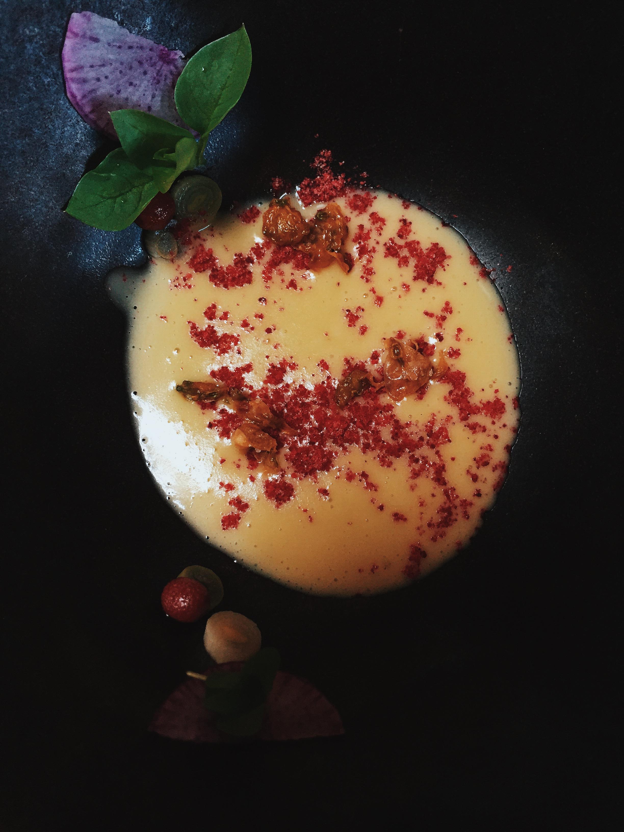 garbanzo soup with raspberry salt