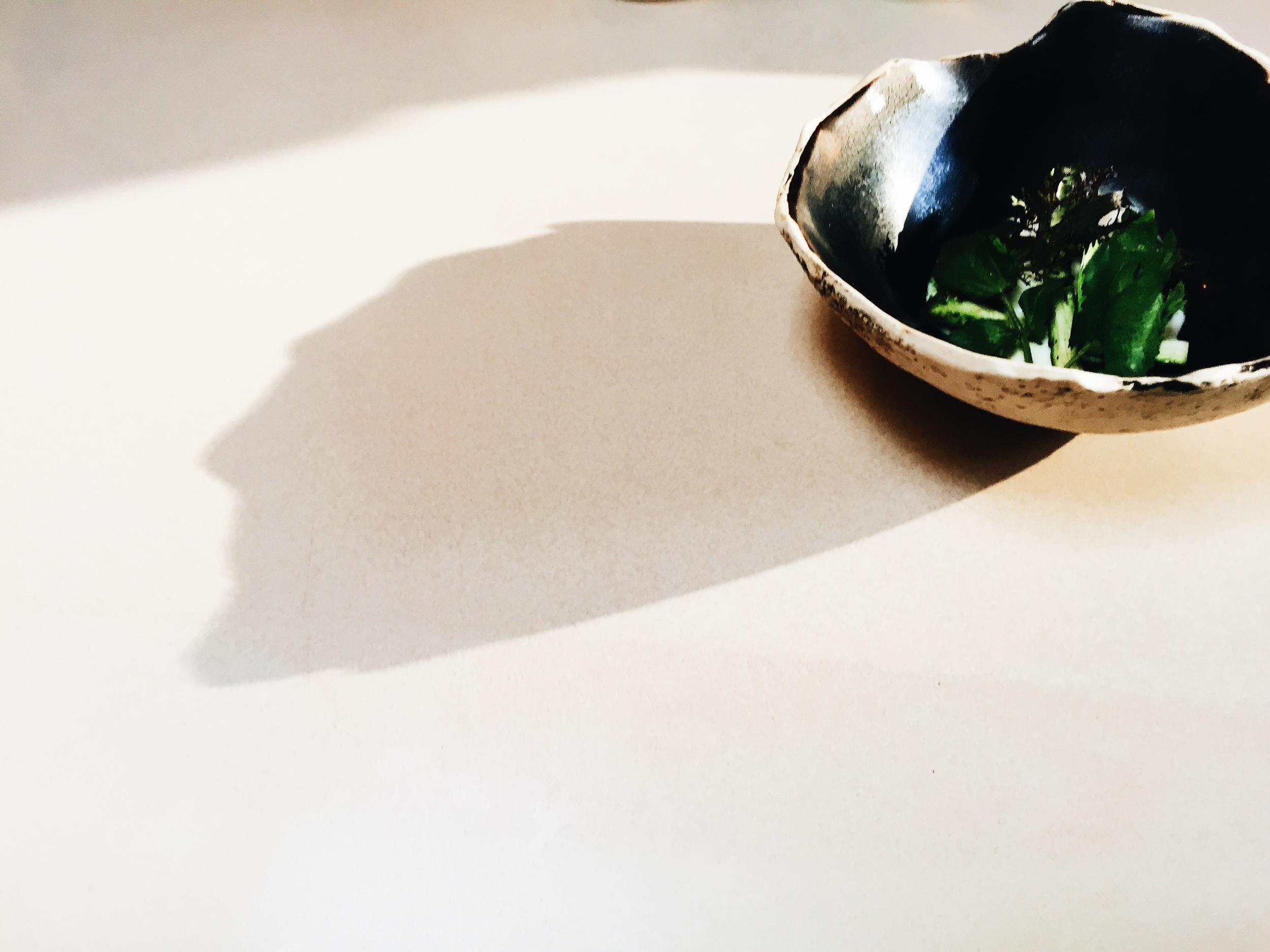 fresh stracciatella with asparagus