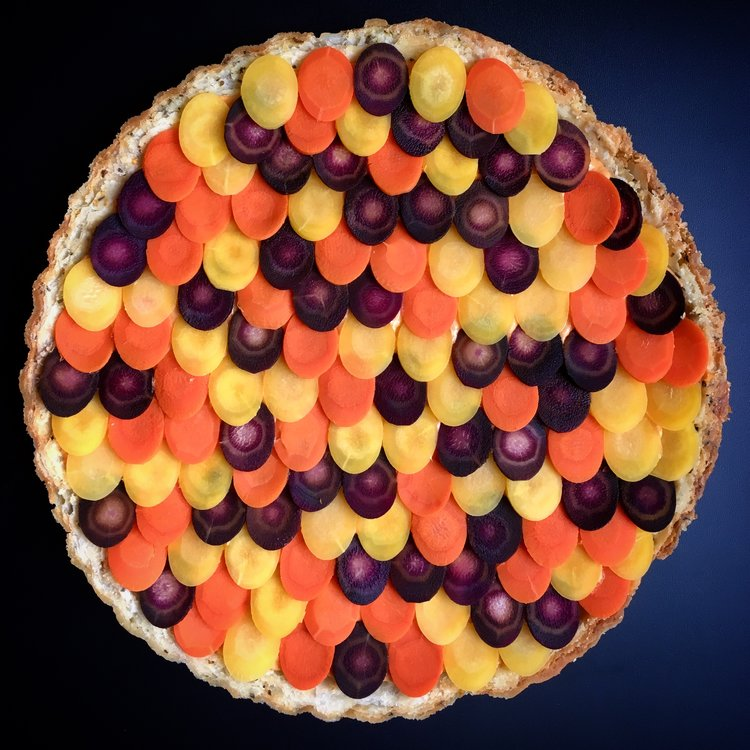 - hummus tart with carrot shingles