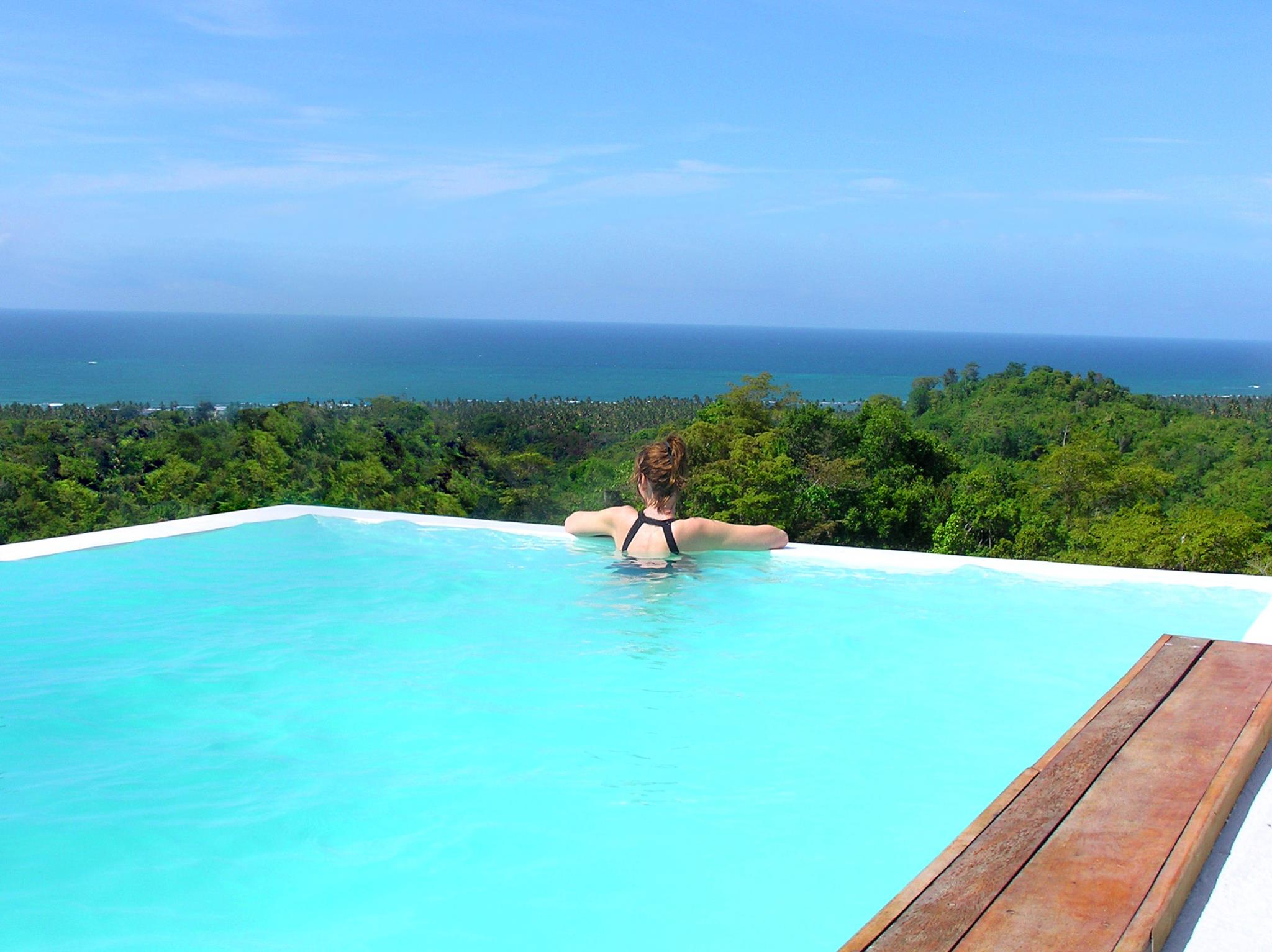 View from the Villa Arboleda pool overlooking the rainforest and out to the ocean
