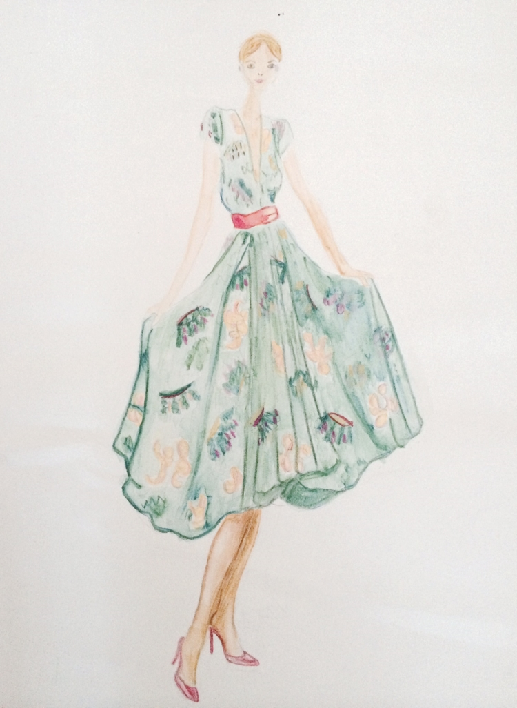 This is an old school girl sketch I found over the holidays. I still think this dress is ideal for a spring wedding.