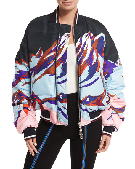 This one is funky cool from Pucci with winter-appropriate illustration and a bomber jacket shape.
