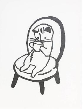 "Teatime Kitty 3""x5"" Flat Card"