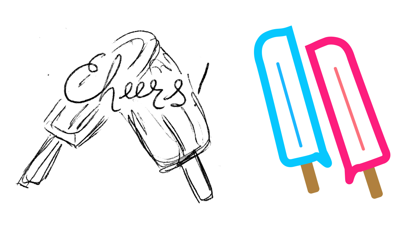 Sketching ideas, playing around in Illustrator to finalize the vector illustration for the pin design!