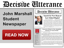 News Badge - Designed this badge to promote and encourage click-throughs to the John Marshall Student Newspaper Decisive Utterance. This badge is on the JMLS News site.