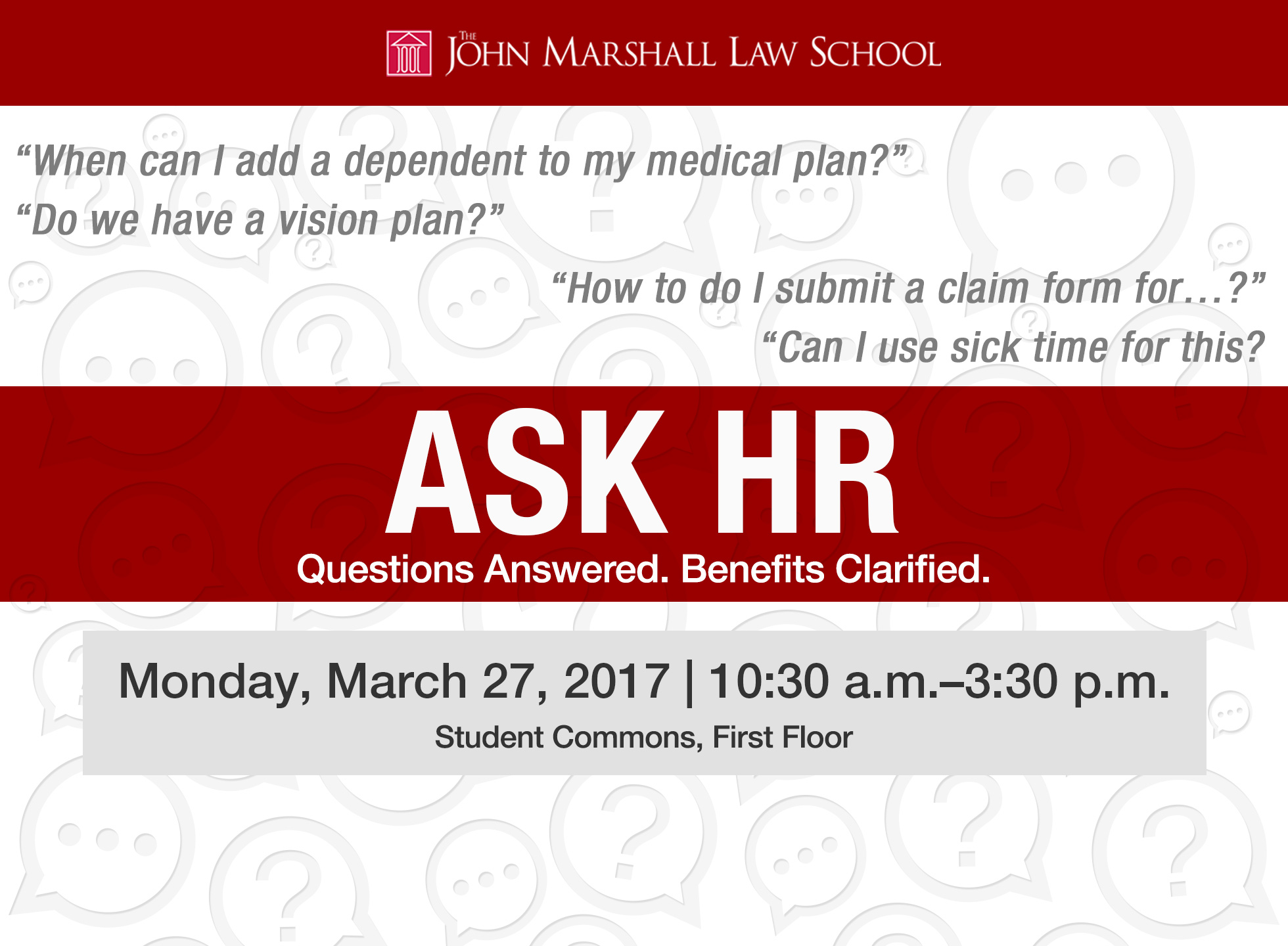 HR Digital Monitor - Designed and created custom repeating pattern for the background of this digital monitor ad to be broadcast throughout The John Marshall Law School and drive attendance to the HR event.