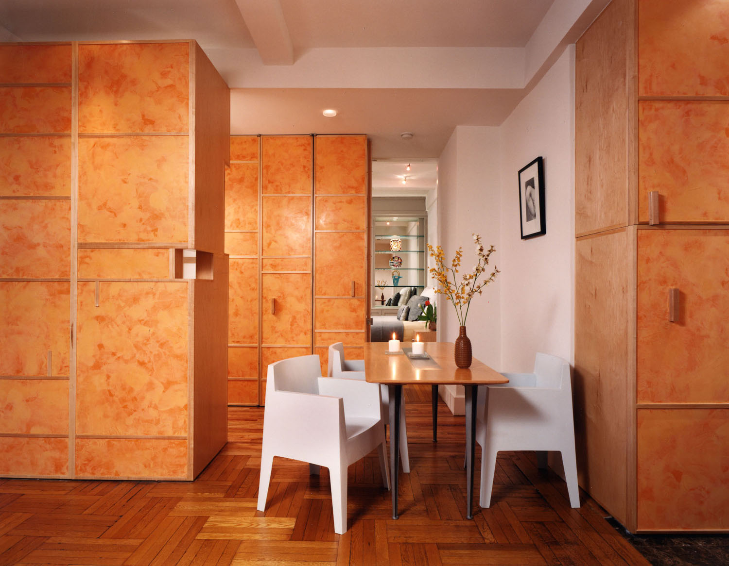 Butter and Melon Venetian Plaster Cabinets