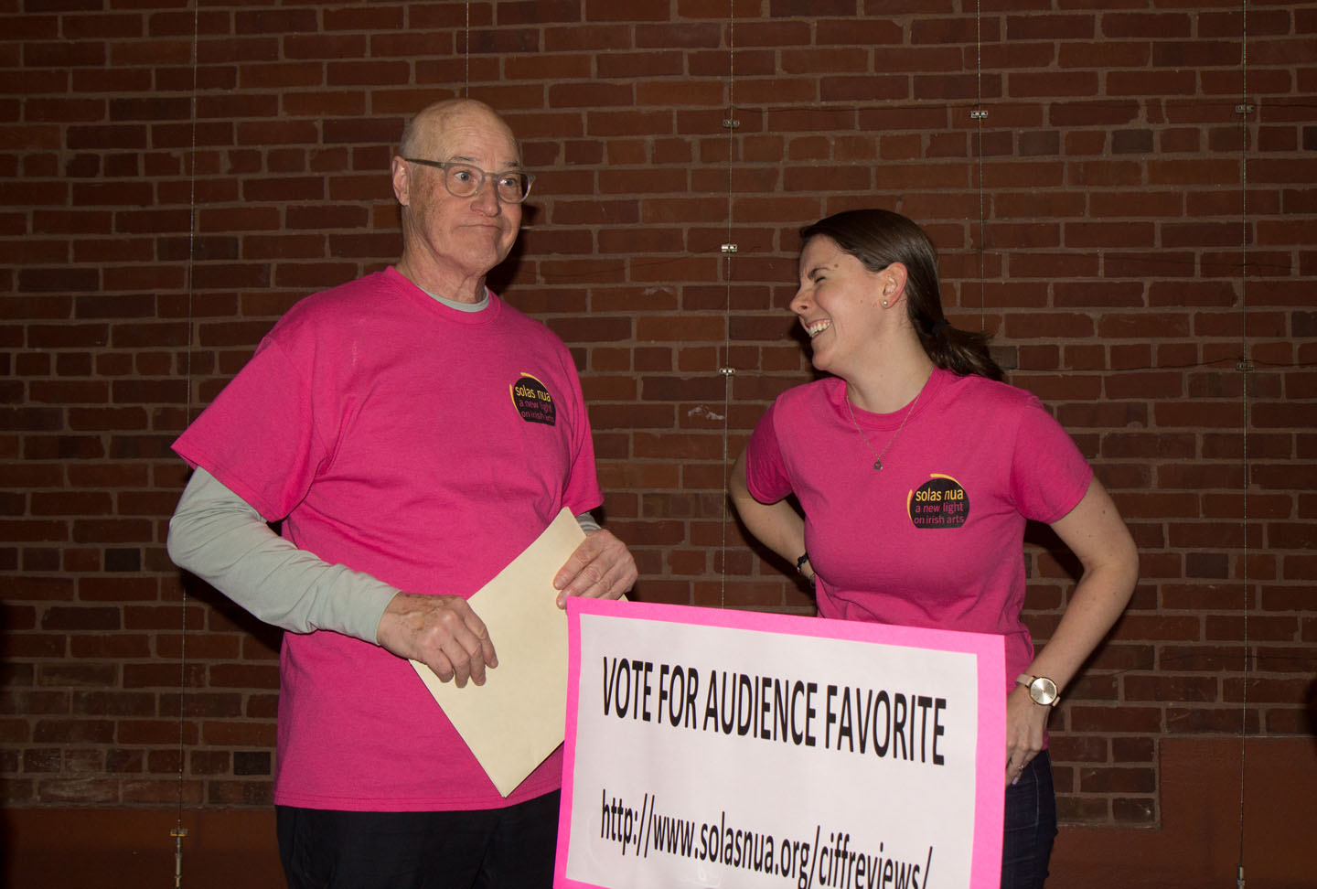 CIFF Co-Director Mike Kerlin and Volunteer Coordinator Norah Quinn urge audiences to vote after each film.