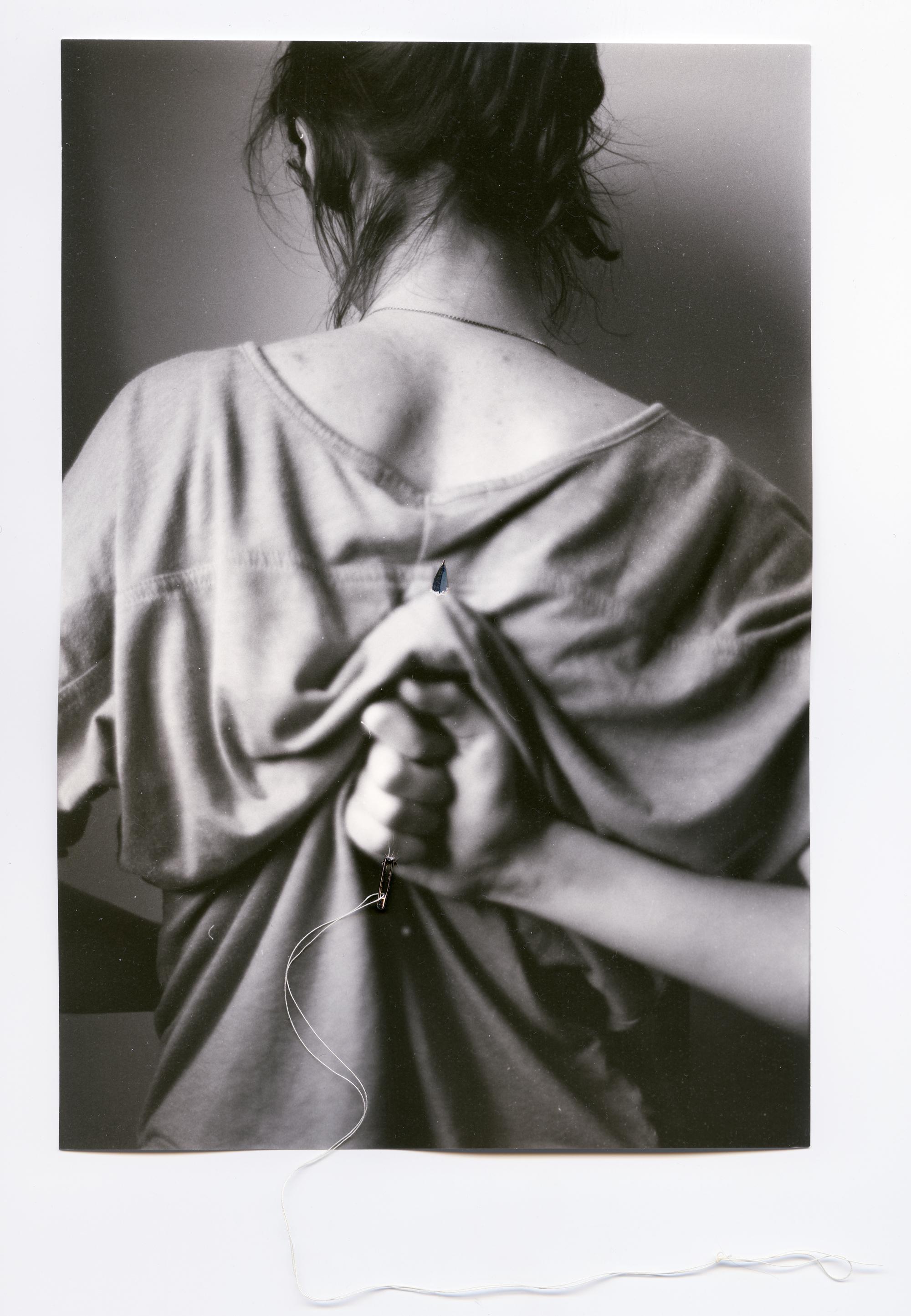 Ridding    Silver Gelatin Print, Thread, Needle, 2014