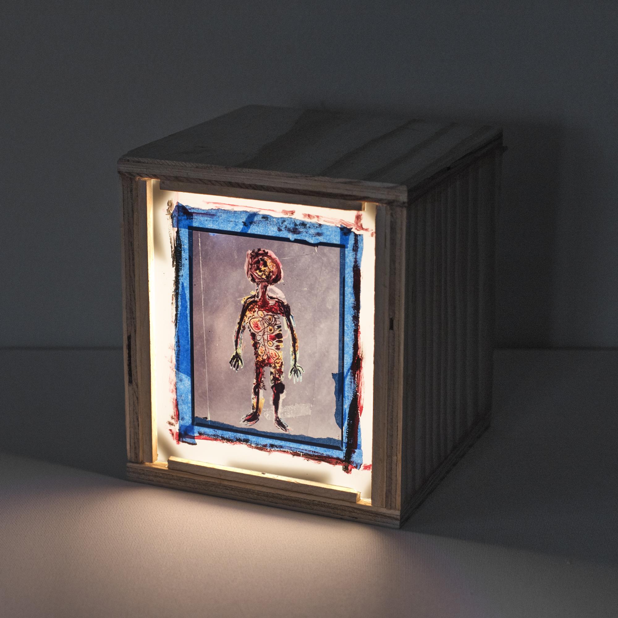 Visitor Kirt , 2016   Color Slide Film, Paint, Tape, Plexiglass,Wooden Light Box