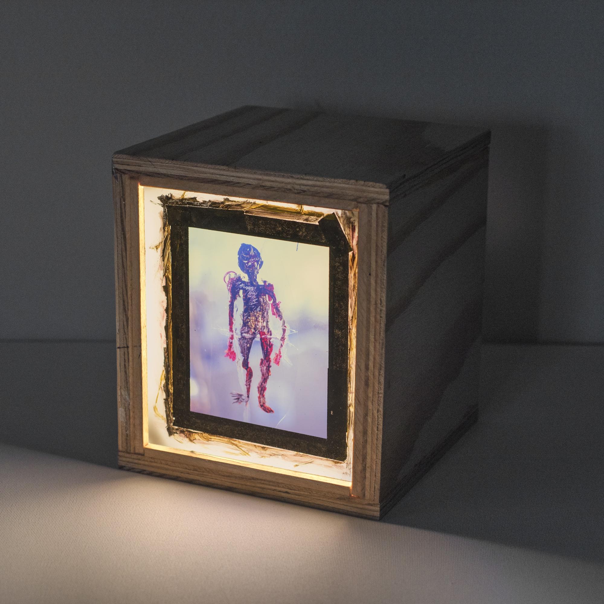 Visitor Dave , 2016   Color Slide Film, Paint, Tape, Plexiglass,Wooden Light Box