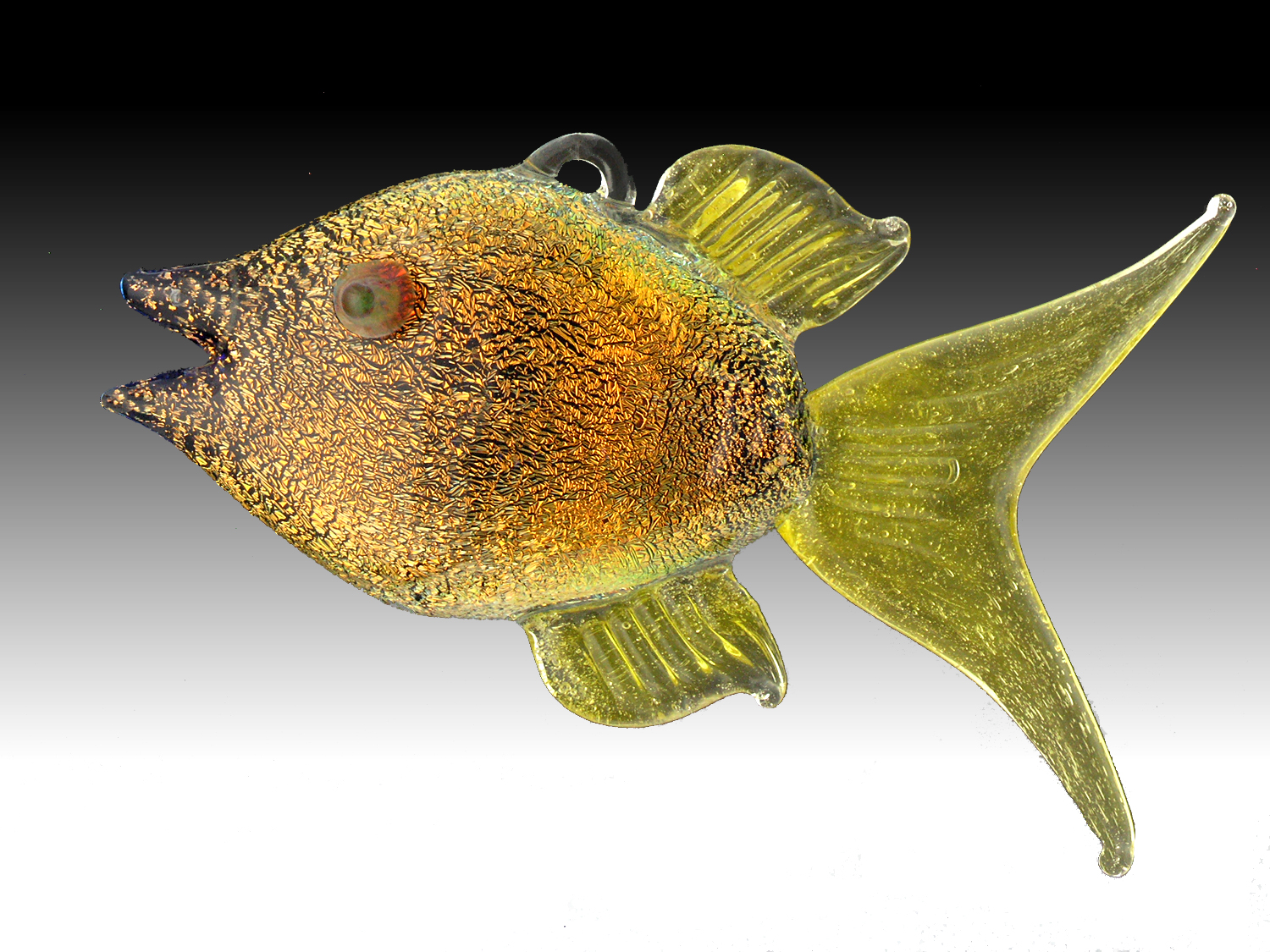 Flamework dichroic glass angel fish hanging ornament