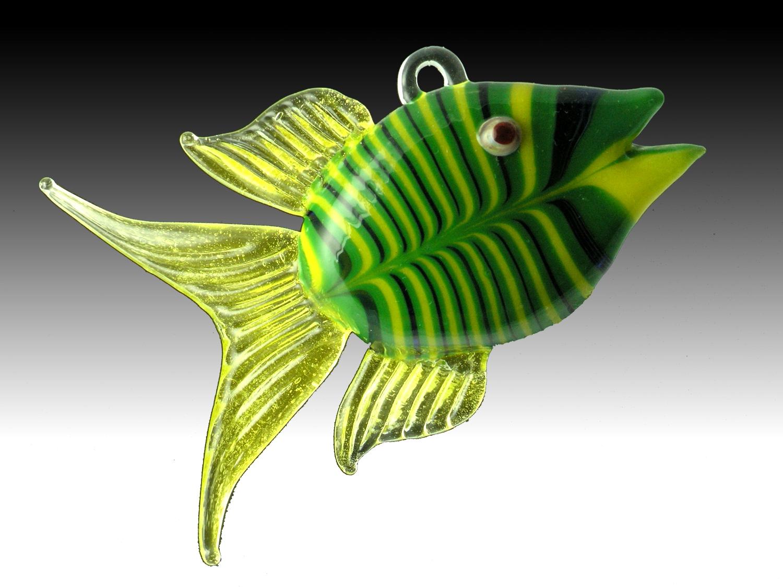 Flamework glass angel fish hanging ornament