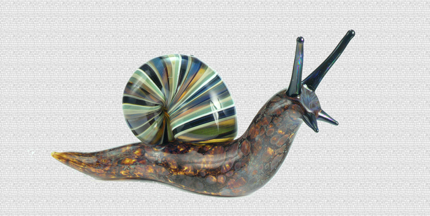 sculpted glass snails very elegant