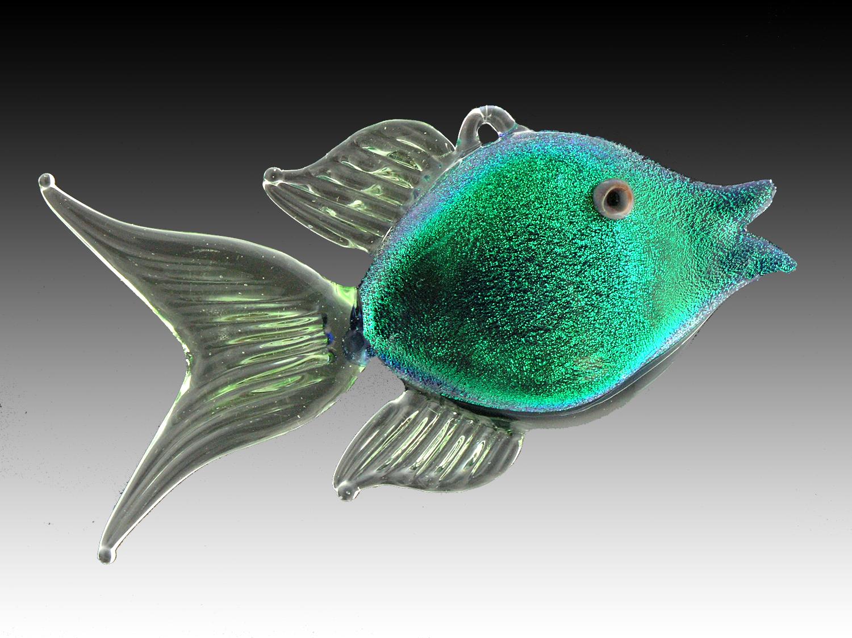 flamework dichroic glass angel fish ornament