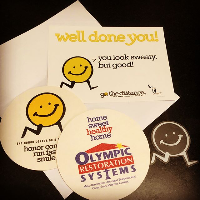 "Did y'all see those cute coasters and Mr Smiley windshield stickers waiting for you as you headed home after the run? That's thanks to our official ""home sweet home"" sponsor and good friends, Darin and Suzie Saffell — who just happen to know a thing or two about keeping homes healthy and happy. (Check out @olympicrestoration ). Such great people. Thank you Saffells. #porchpeople #dayonepeople #goodpeople #goodbusiness #bighearts #honorconnor2019 #ckg"