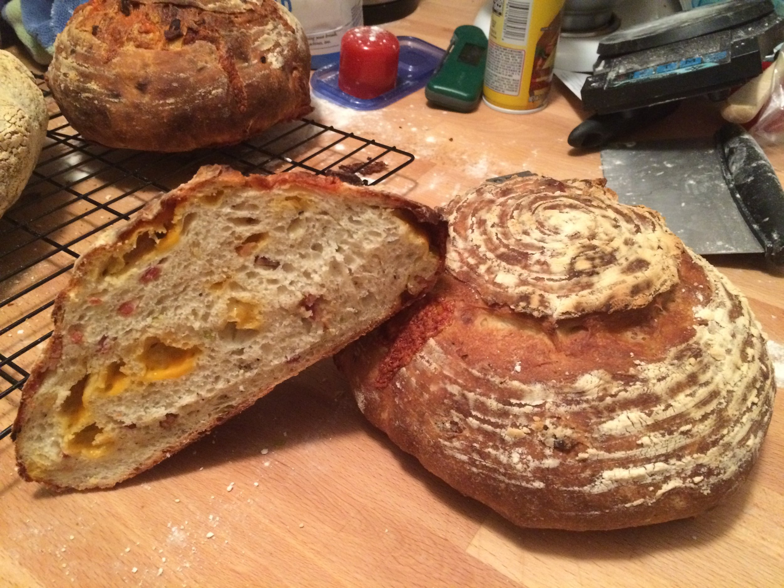 Cheddar and bacon sourdough bread