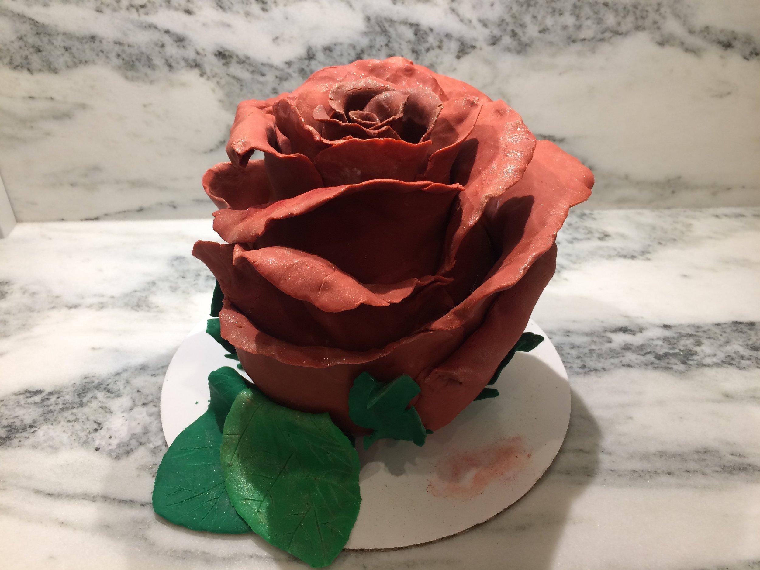 Rose Cake - Funfetti cake, Strawberry Swiss Meringue buttercream, and modeling chocolate