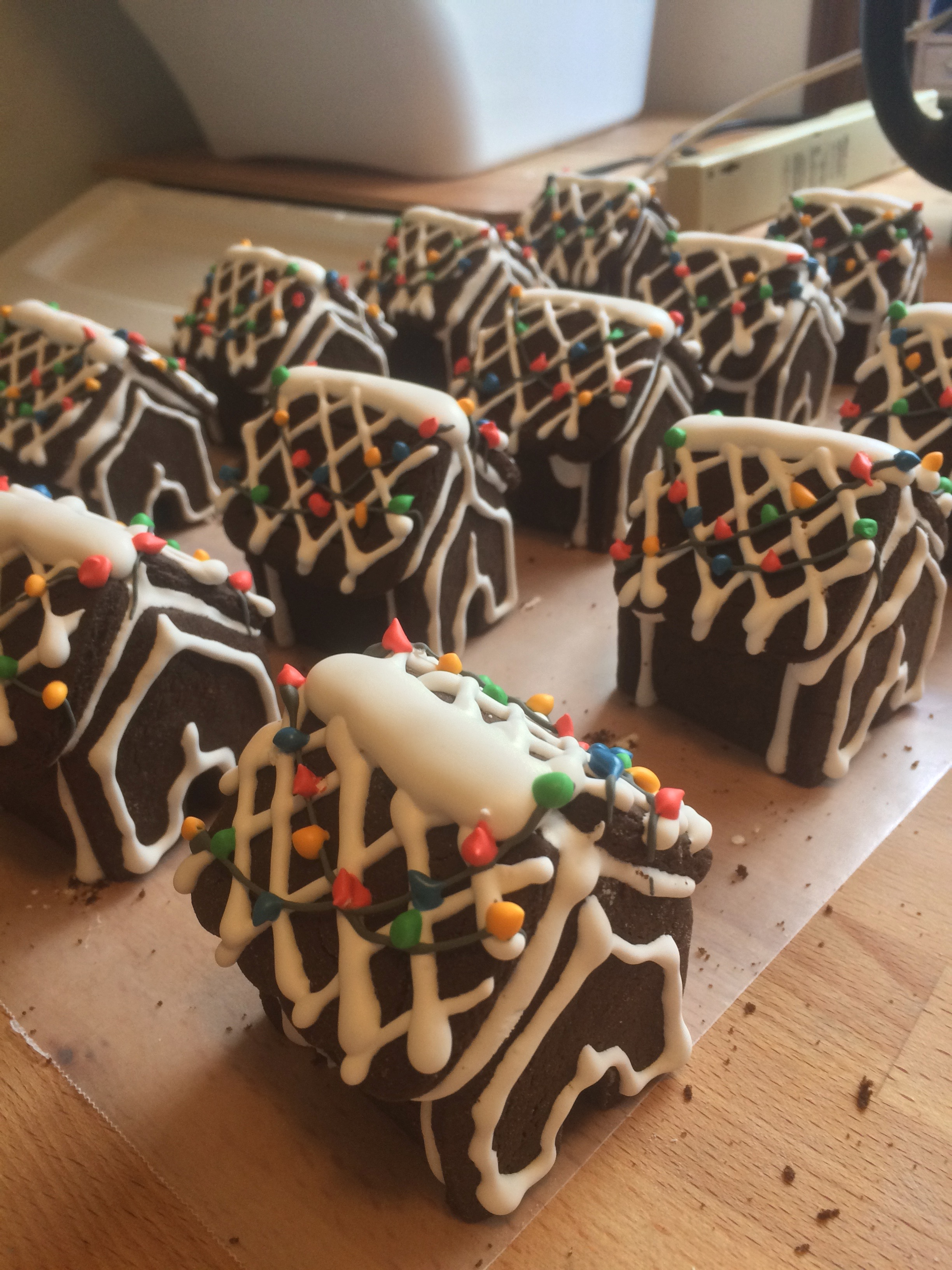 Mini-Chocolate Gingerbread Houses, decorated with royal icing