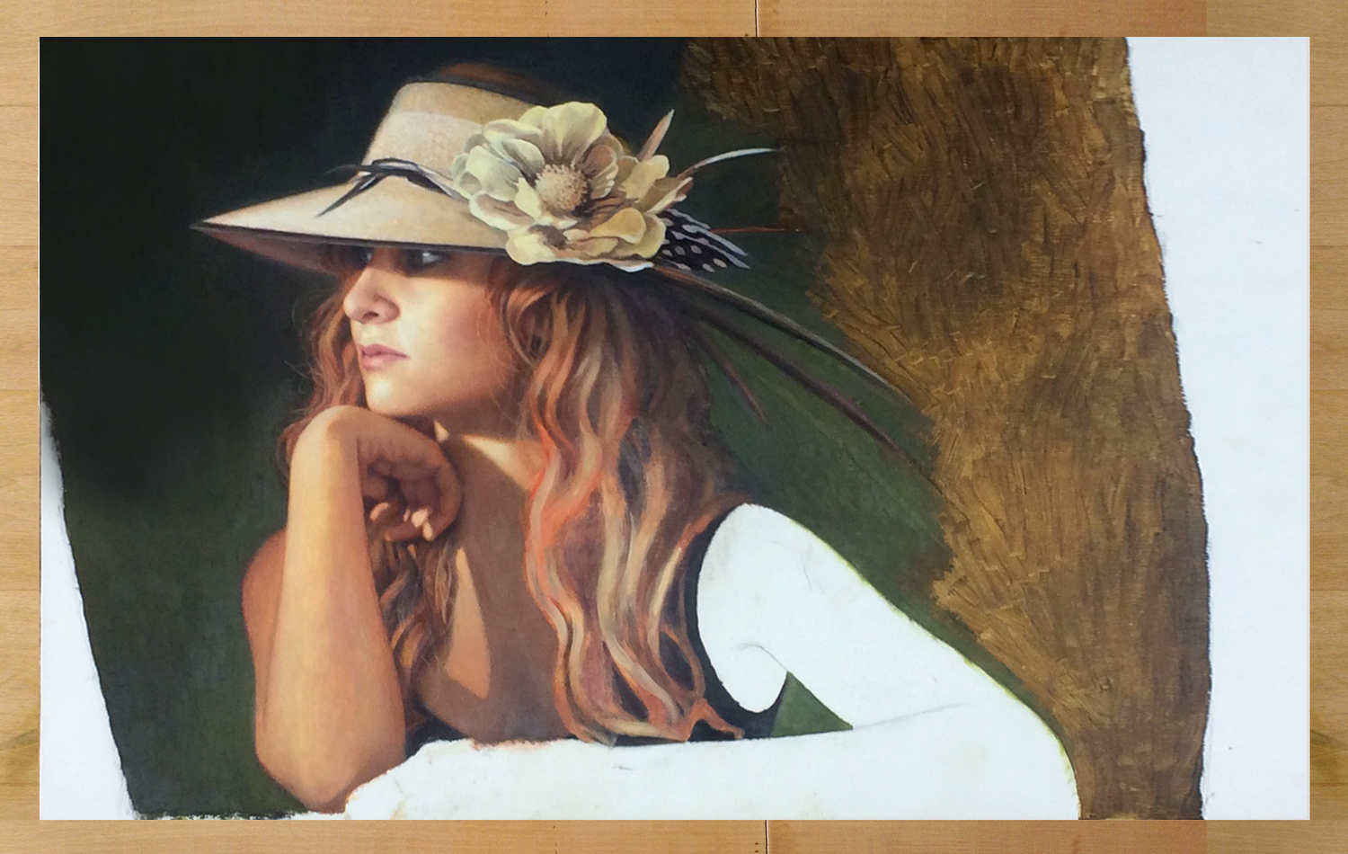 - Latest progress on painting as of May 7, 2014. Her face is almost finished and I am now working on her hat, flower and hair. The white areas on each edge will become lace window curtains.