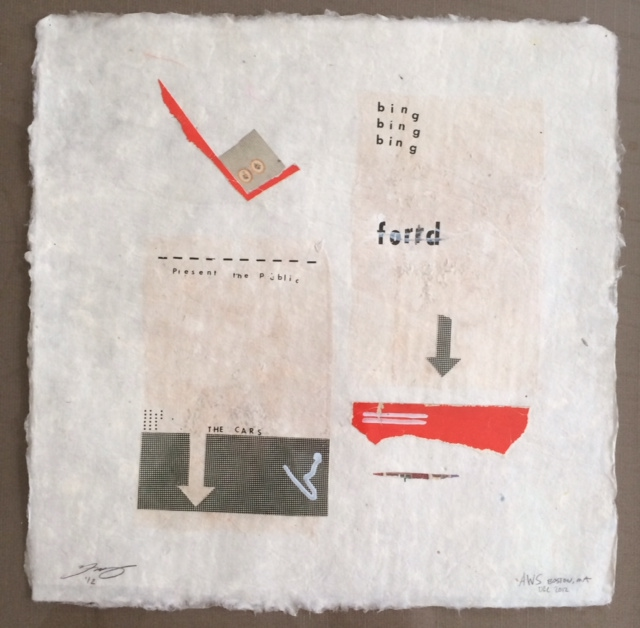 "blind collaboration- printmaking and hand made paper, 10""x10"". 2012."