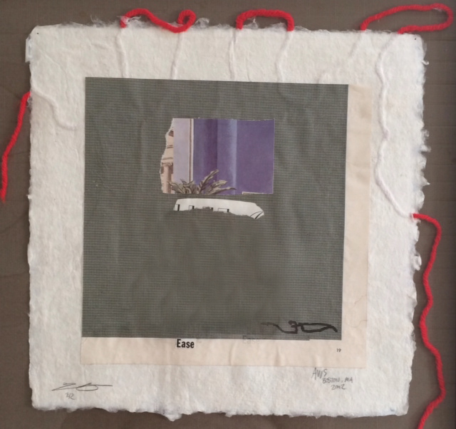 "blind collaboration- printmaking and hand made paper, 10""x10"". 2012"