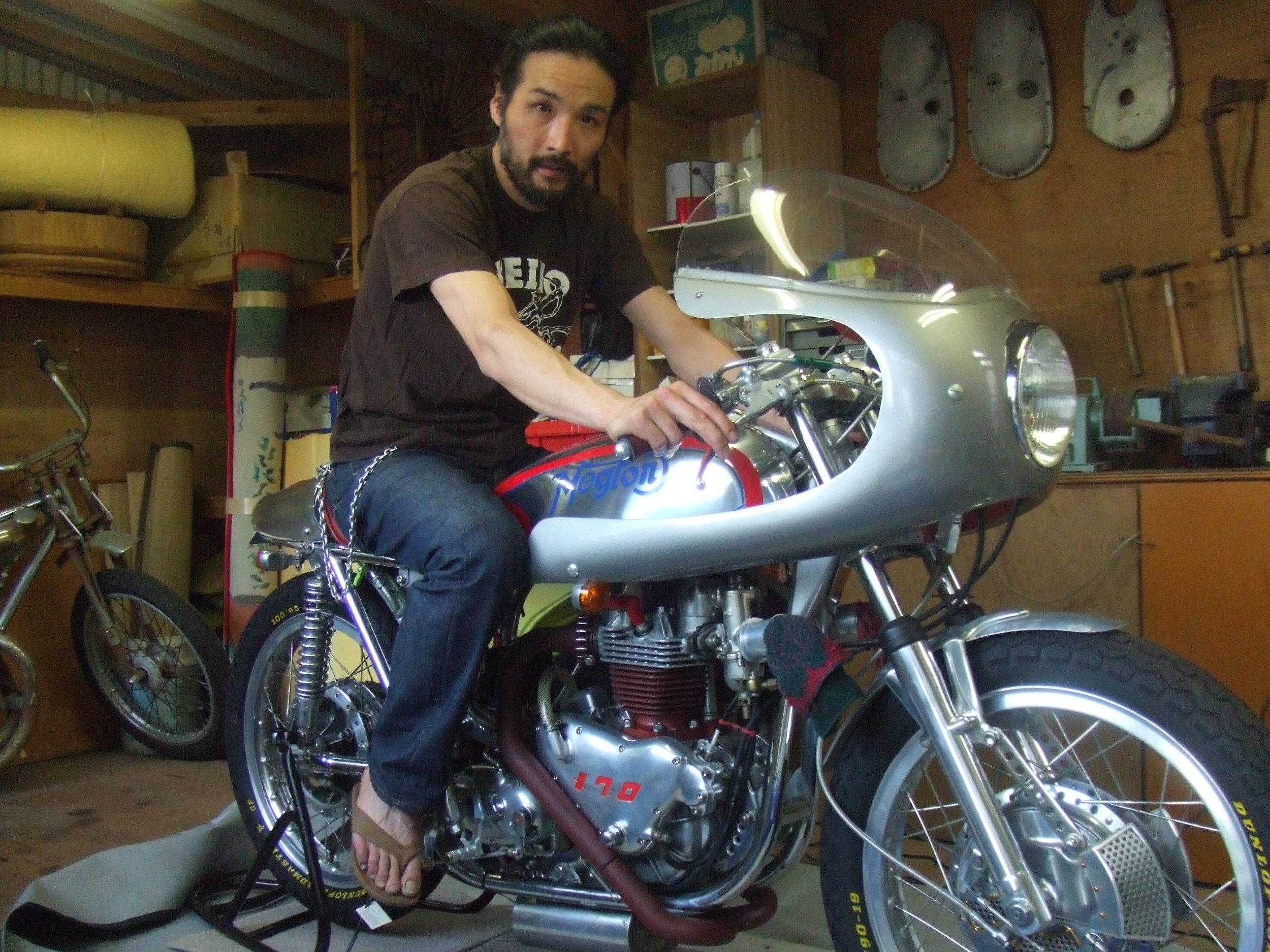 Father's last bike MEGTON, Meguro (aka Kawasaki) in Norton frame