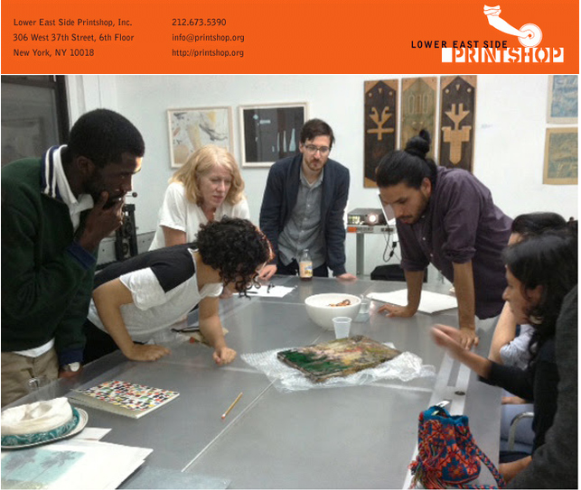Left to right: Ivan Forde, Shadi Harouni, Master Papermaker Ruth Lingen (salon leader), Guy Ben-Ari, Camilo Godoy, and Lina Puerta