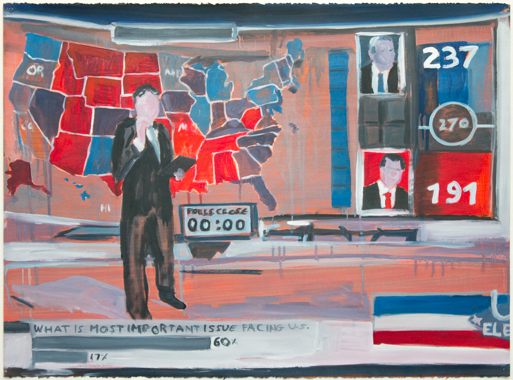 "Election Poll , 2015, oil on paper, 22"" x 30"""