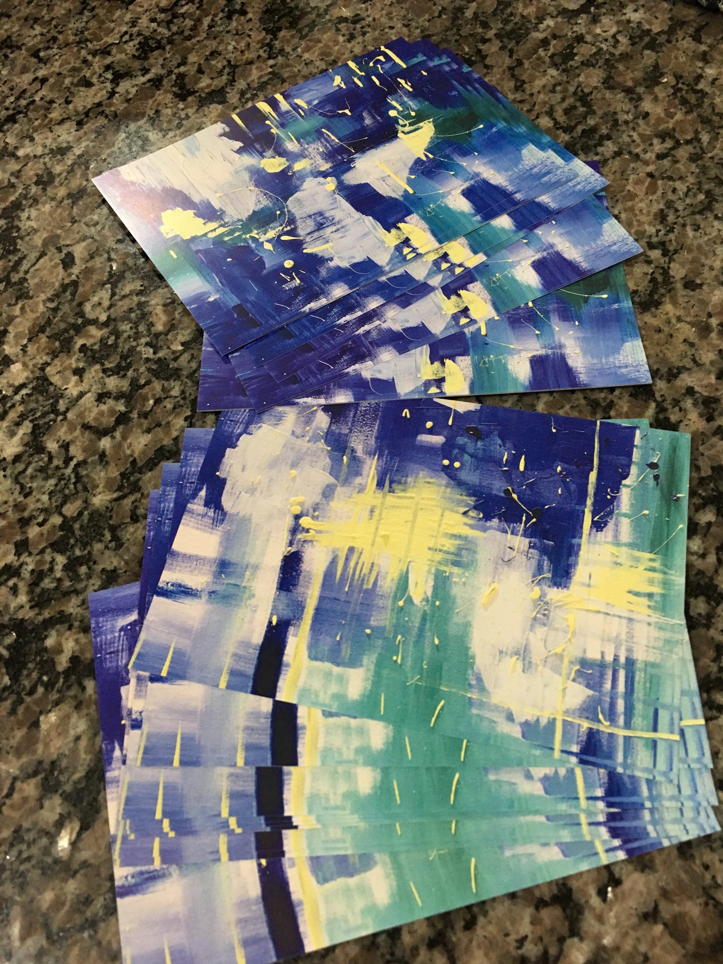 "Print: Blue Green Splatter 1 + 2. 5"" x 7"" - $20 ea."