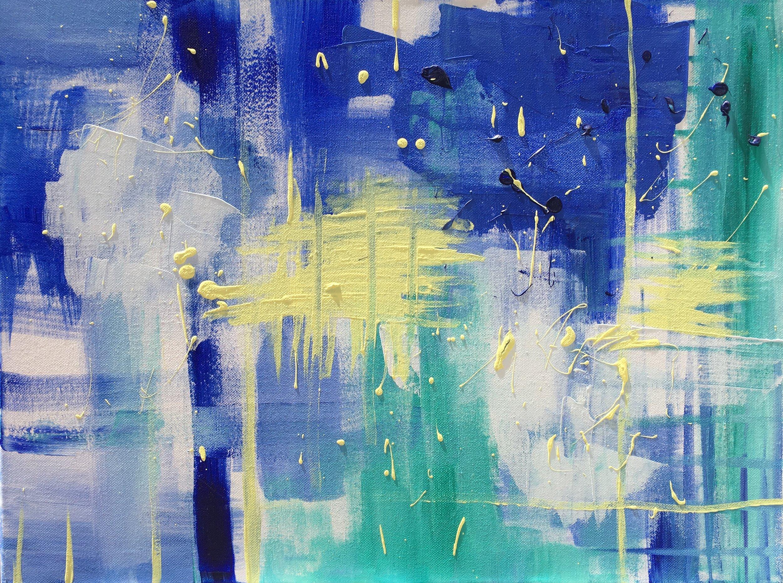 "Blue Green Splatter 1. Acrylic on canvas. 24""x 18"""