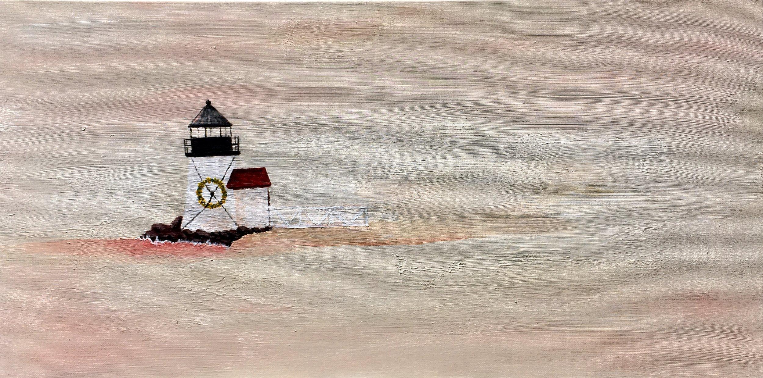 """Hazy Beach 1. Acrylic on canvas. 12"""" x 24"""""""