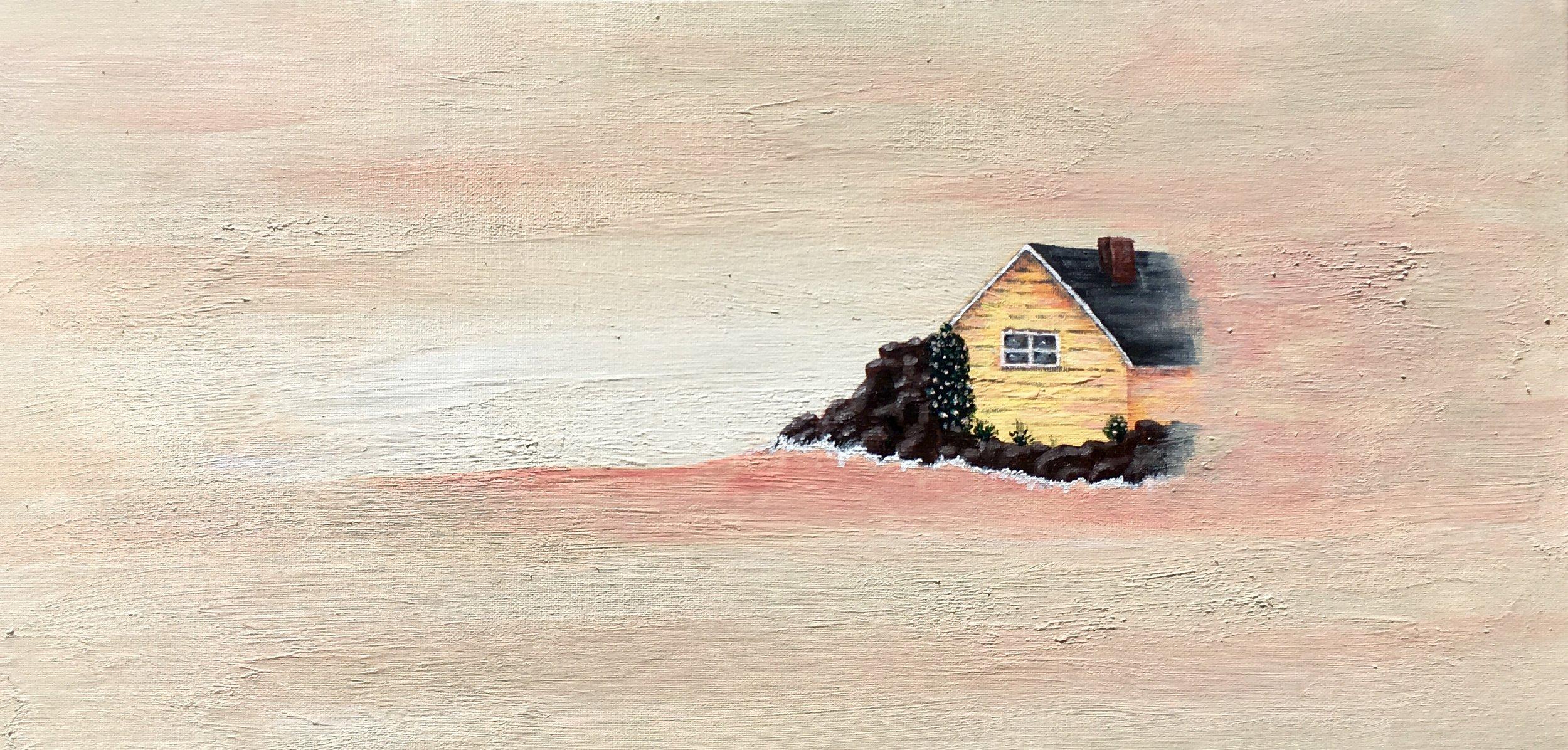 """Hazy Beach 2. Acrylic on canvas. 12"""" x 24"""""""