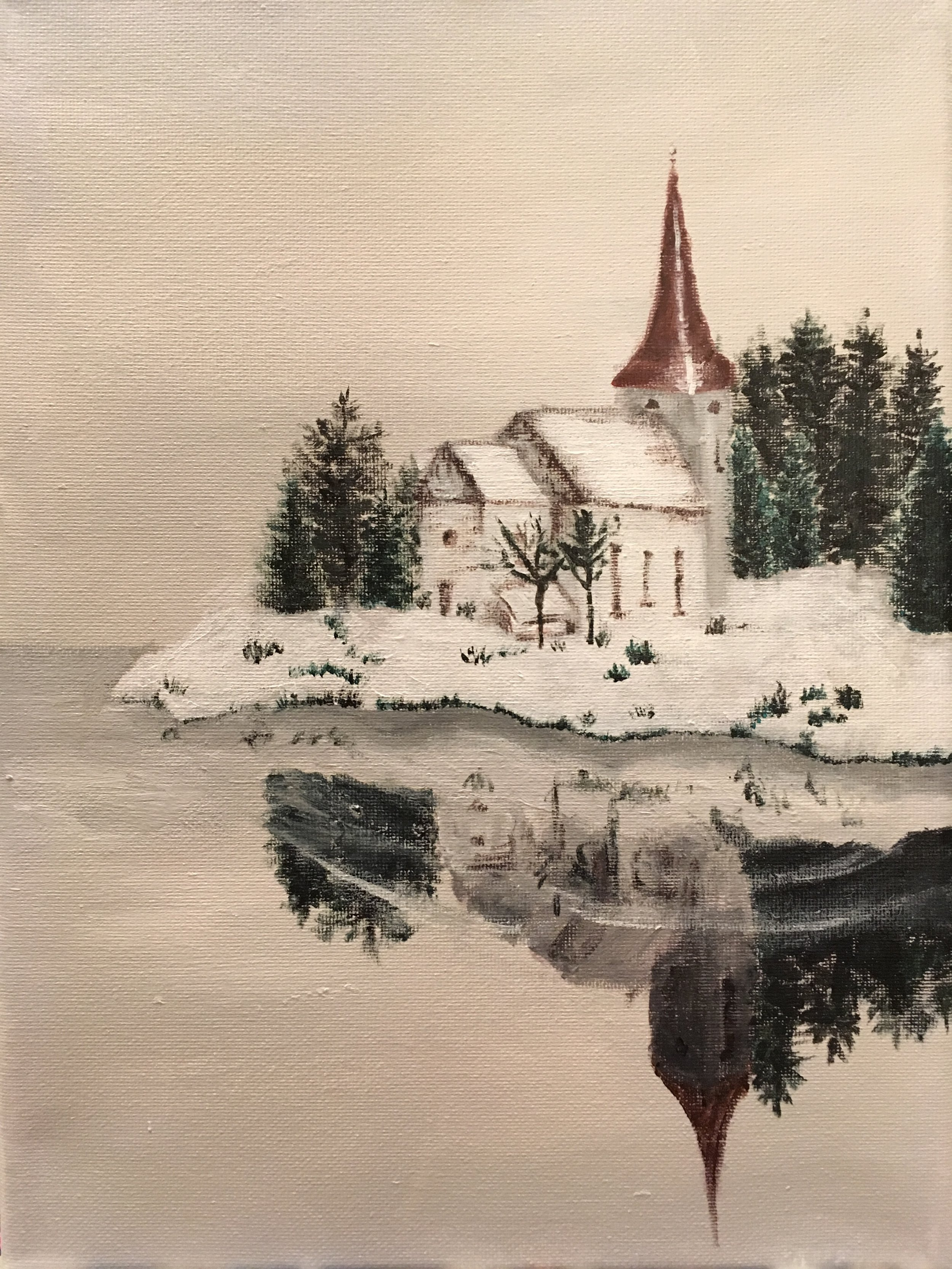 Winter Chapel. Acrylic on canvas.
