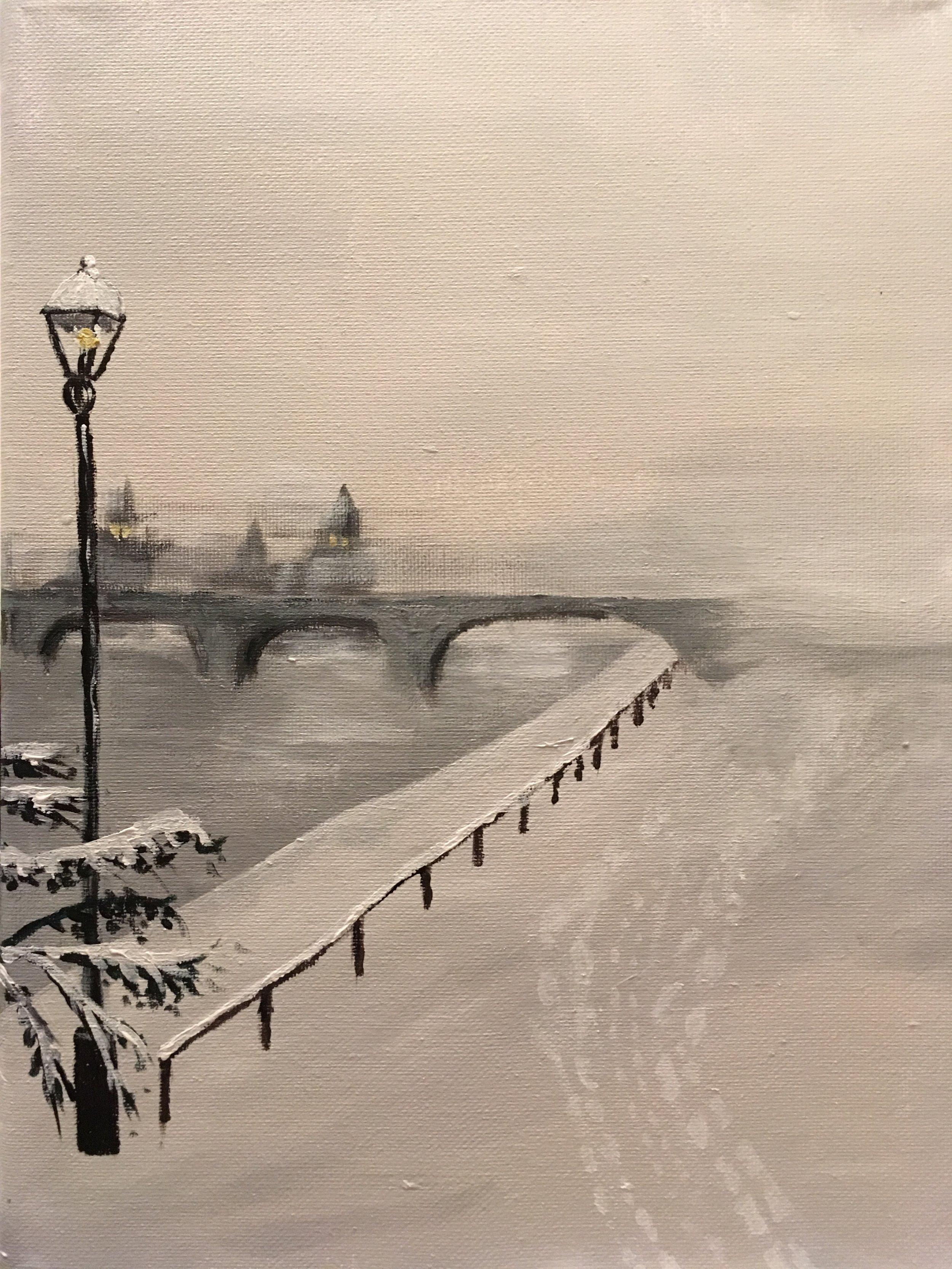 Winter Riverwalk. Acrylic on canvas.
