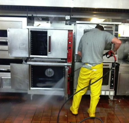 We specialize in cleaning industrial kitchens for inspections.