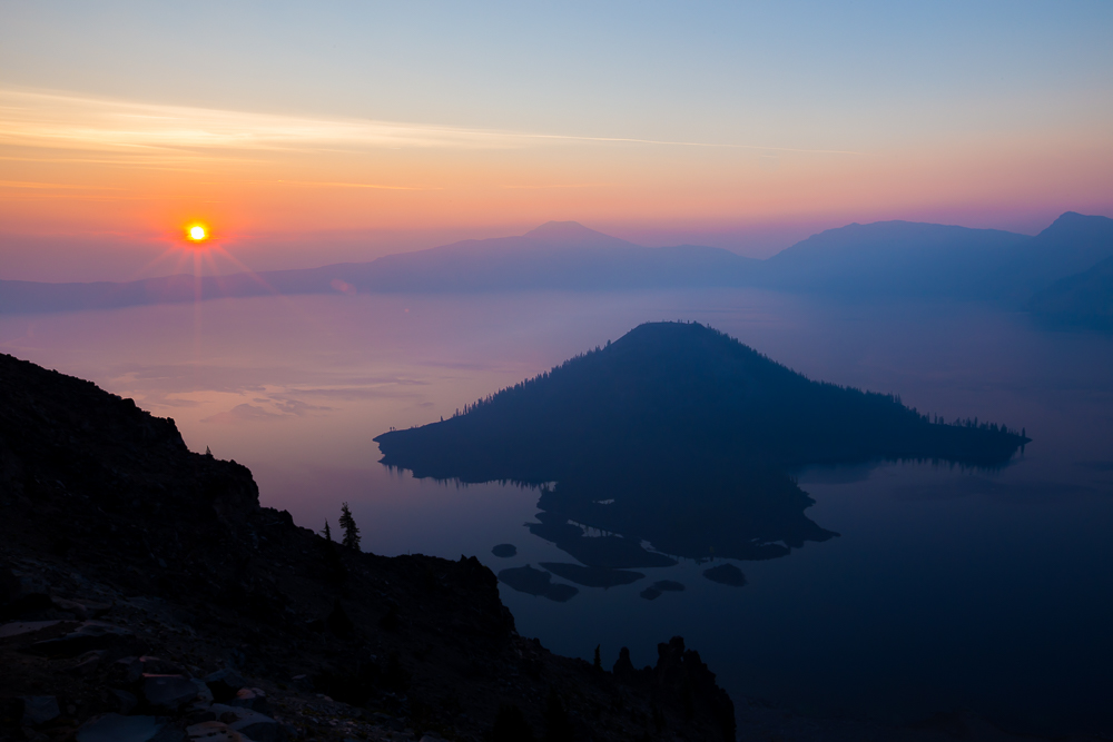 Crater Lake's smoky sunrise
