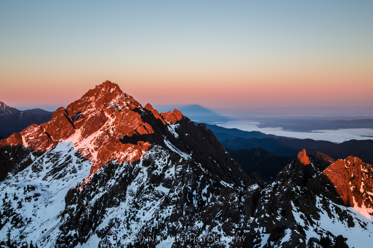 We earned this view. We raced up Mount Ellinor to catch this sunset view before hiking and sliding down by light of a few headlamp LEDs.