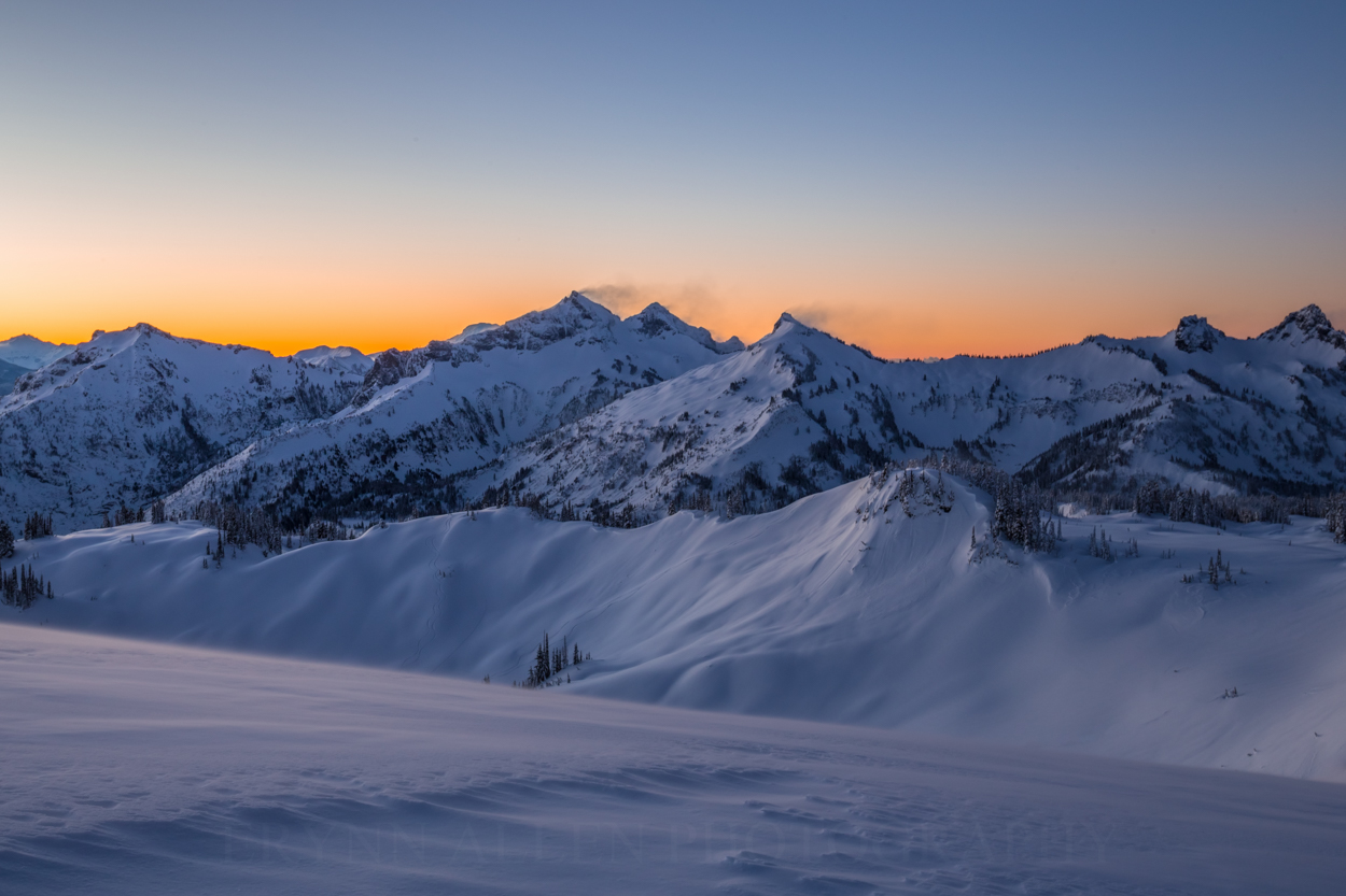 It was insanely windy, as shown with the drifts blowing off the Tatoosh. I had trouble keeping my tripod steady.