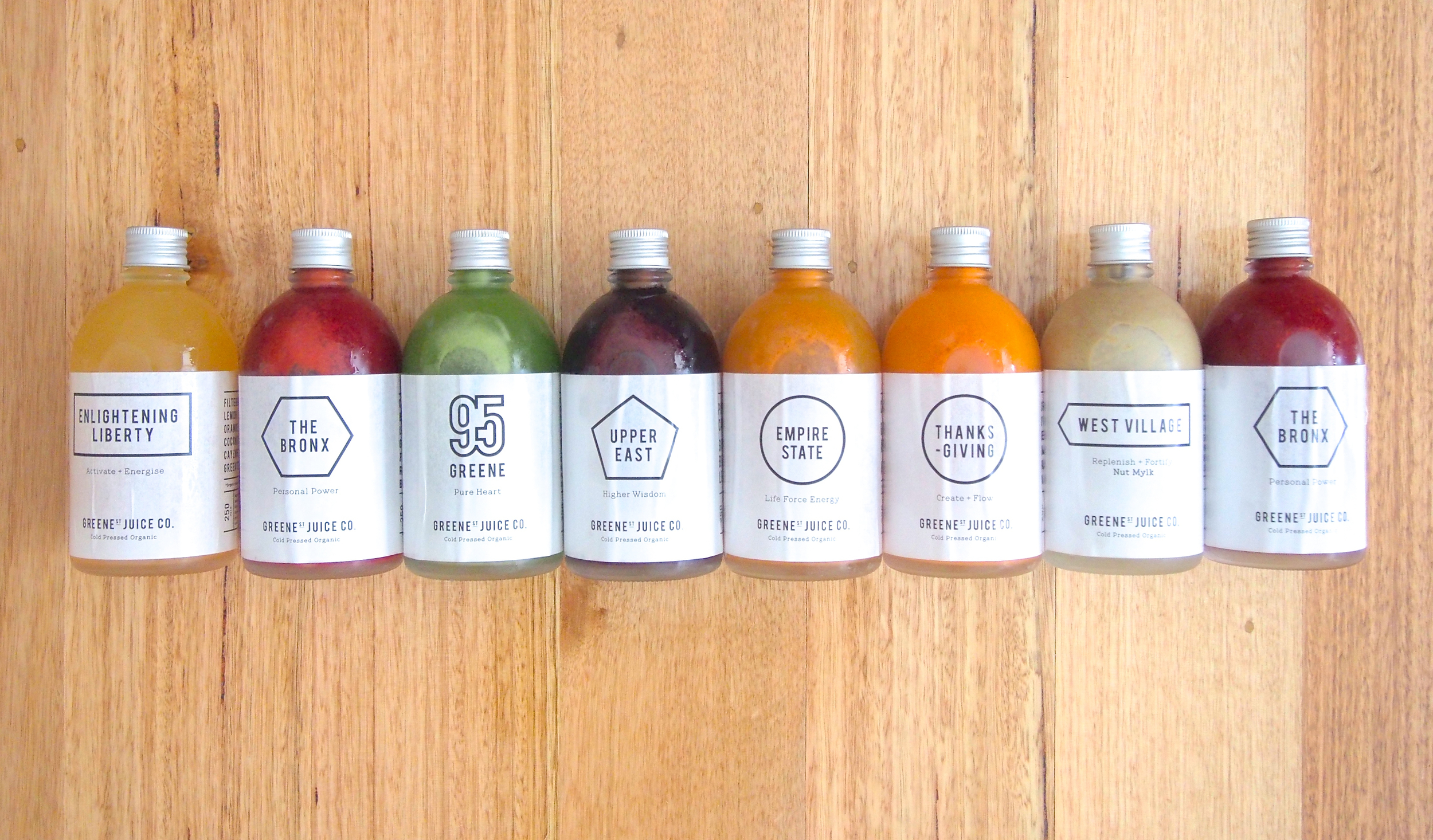 7 blends, 8 bottles = one day's worth of juices