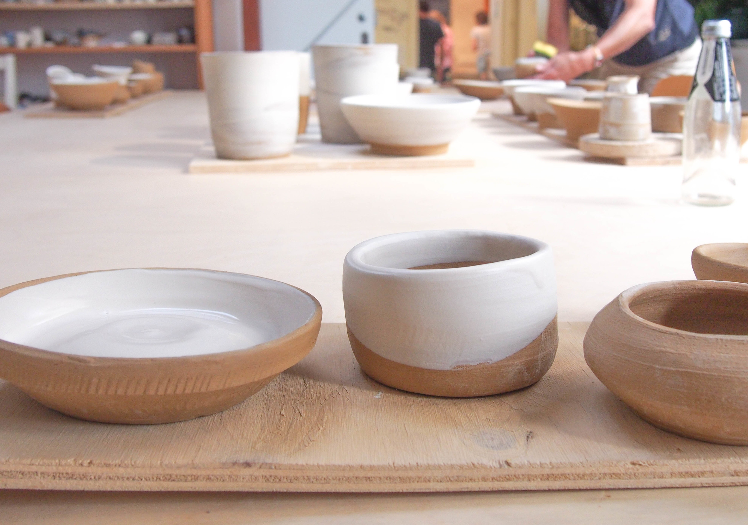 My first pots and dishes created on the wheel at the Slow Clay Centre.