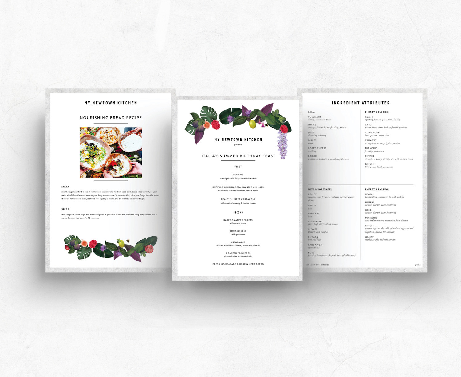 printed templates for recipes, ingredients and menus