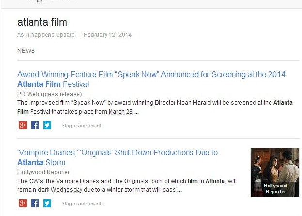 "Google Alert for ""Atlanta Film"""