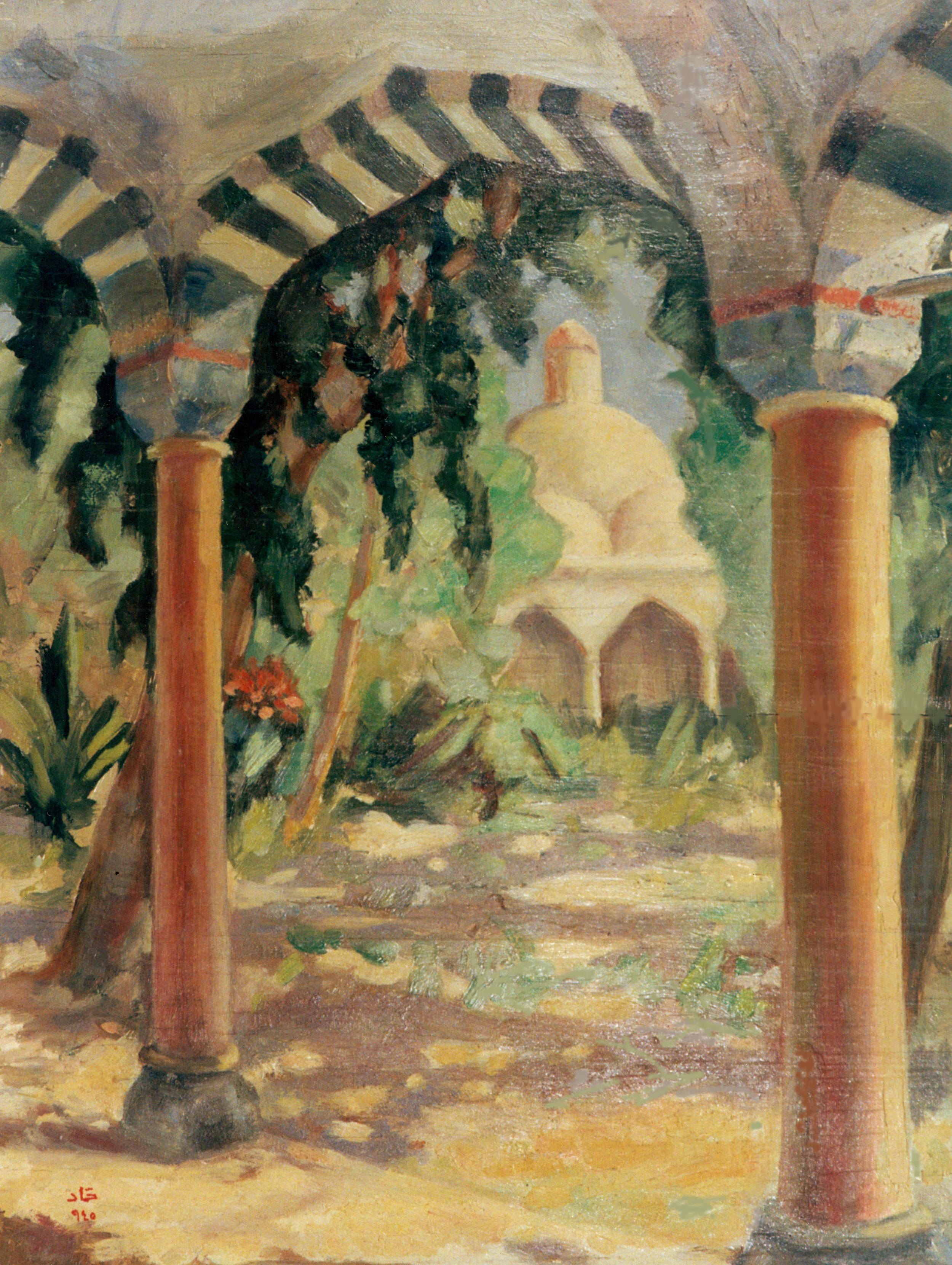 Scene In Damascus, Mosque of Sultan Selim . 1945 . تكية السلطان سليم بدمشق