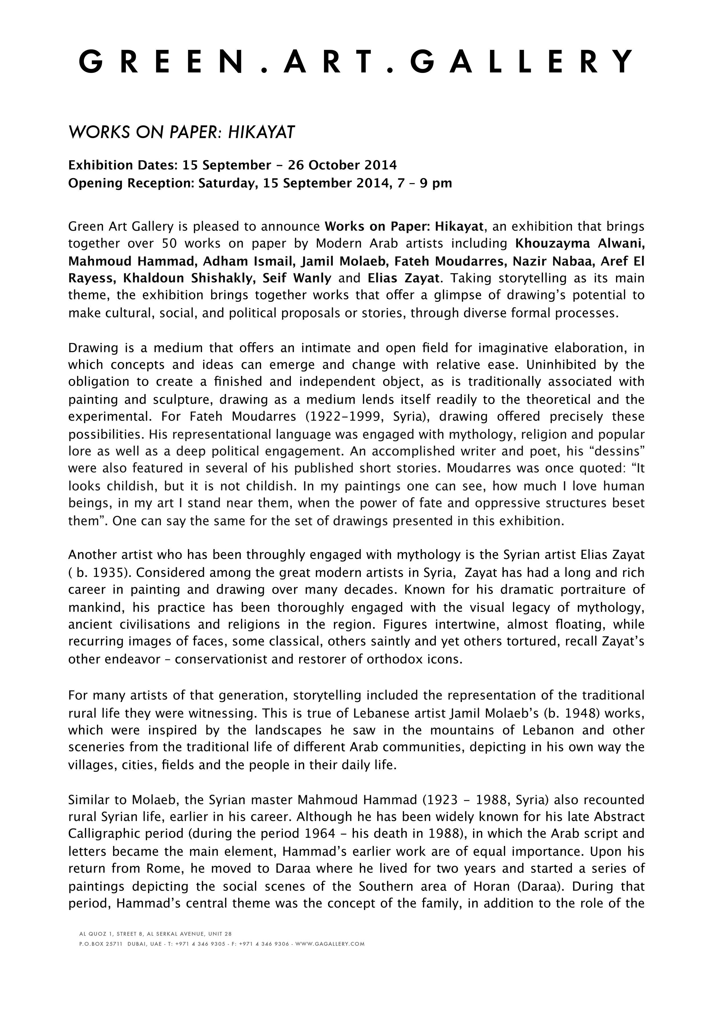 Press release. Green Art Gallery, HIKAYAT 2014