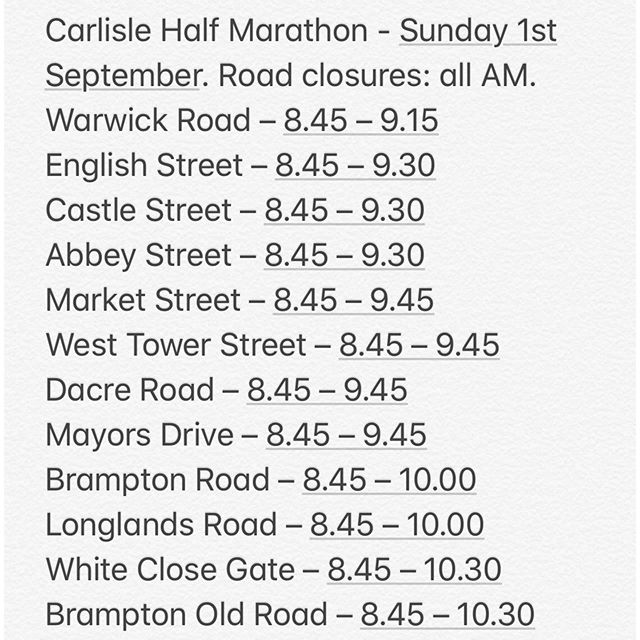 Good Luck to all the Runners this Sunday - here are the road closures that you might need to negotiate on your way to join us at the Hub - toot toot! #carlislehalf #welovecarlisle #goodluckrunners #besafe