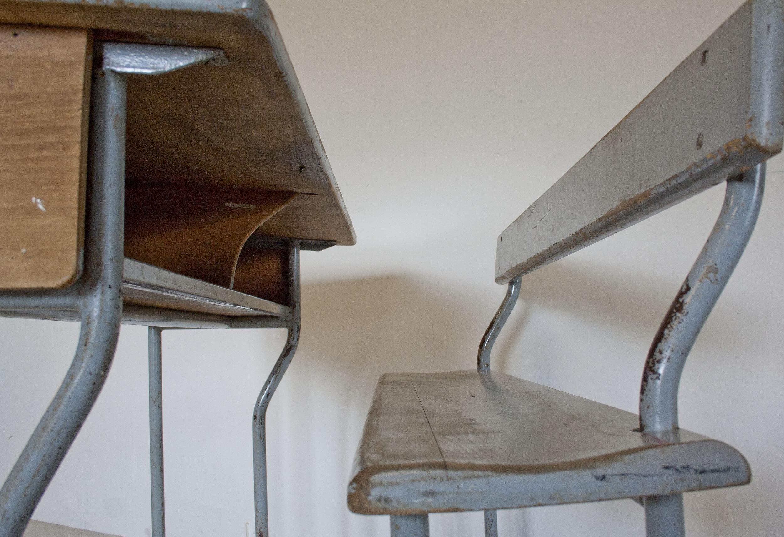 Vintage tweepersoons schoolbank 6.JPG