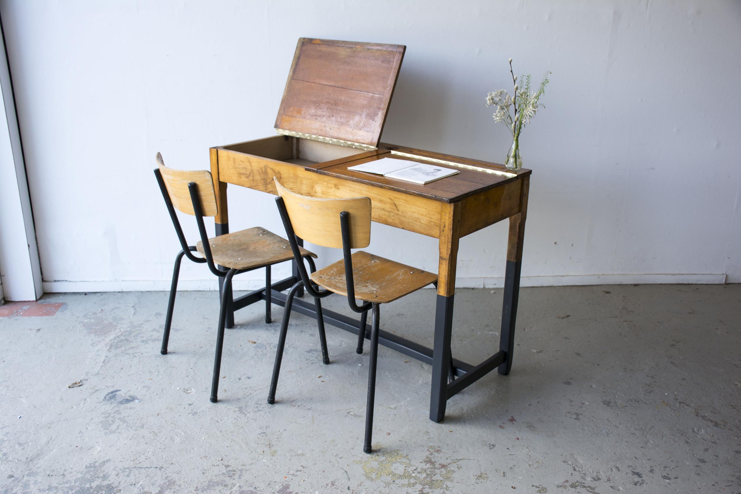 Vintage schooltafel met zwarte poten - Firma zoethout_3.jpg