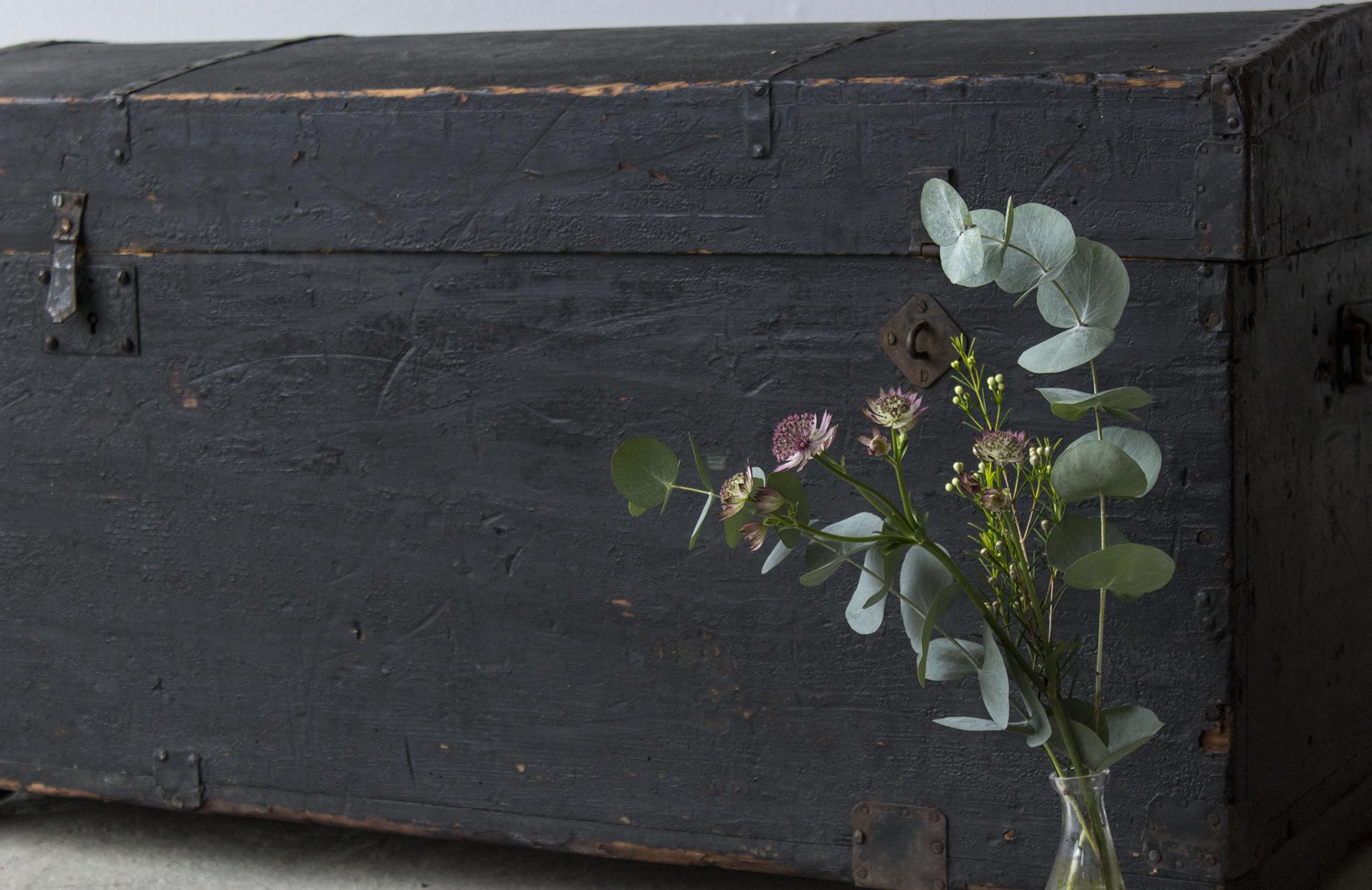 5044 - Zwarte vintage kist met bolle deksel - Firma zoethout_1.jpg