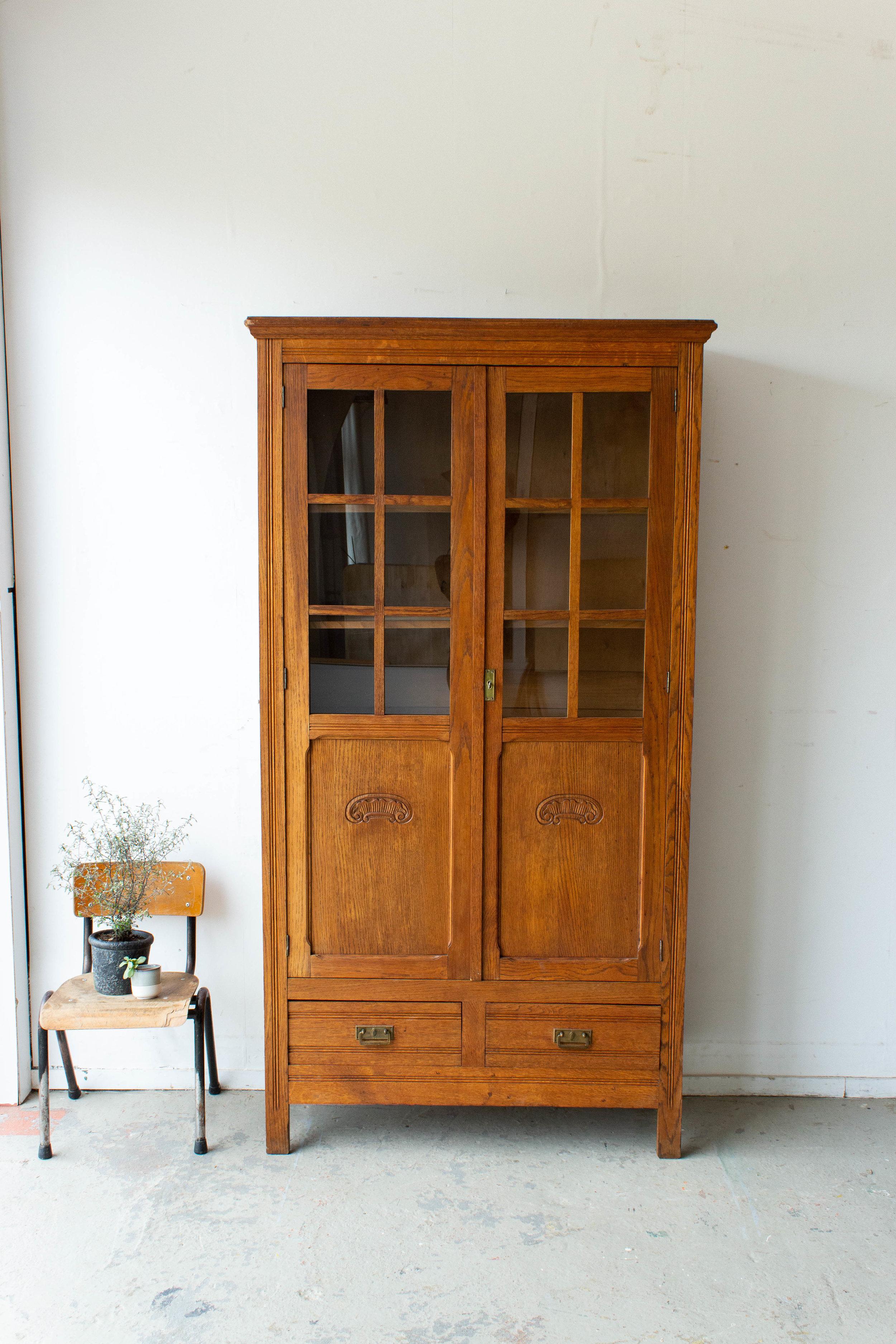1536 - Houtkleurige vintage vitrinekast-6.jpg